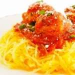 Spaghetti Squash with Arrabiata Sauce and Spicy Italian Meatballs