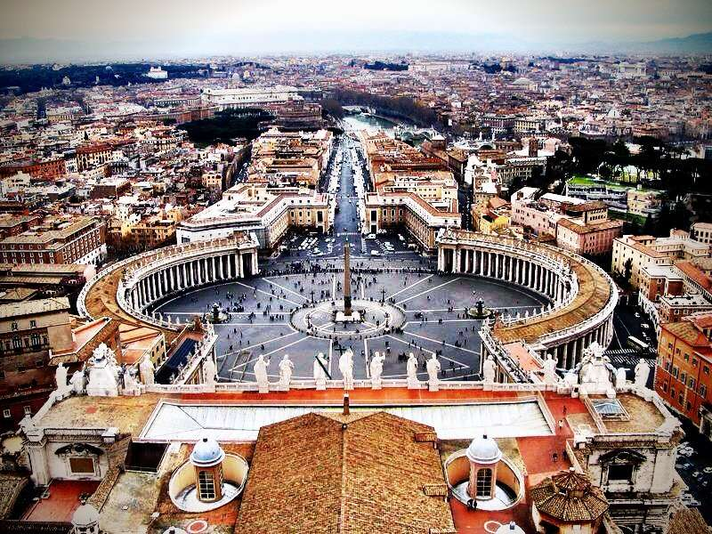 View of Rome from the top of the Dome of St. Peter's Basilica