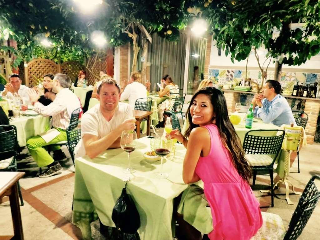 Dining under the lemon  trees at Da Paolino