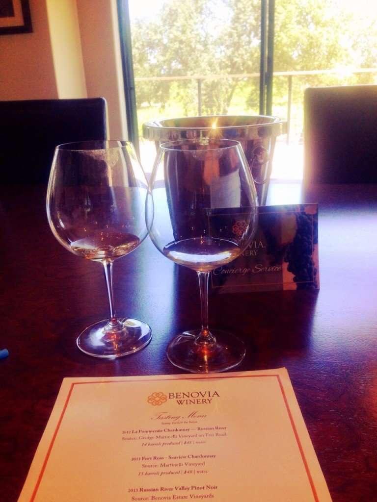 Tasting overlooking the vineyards at Benovia Winery