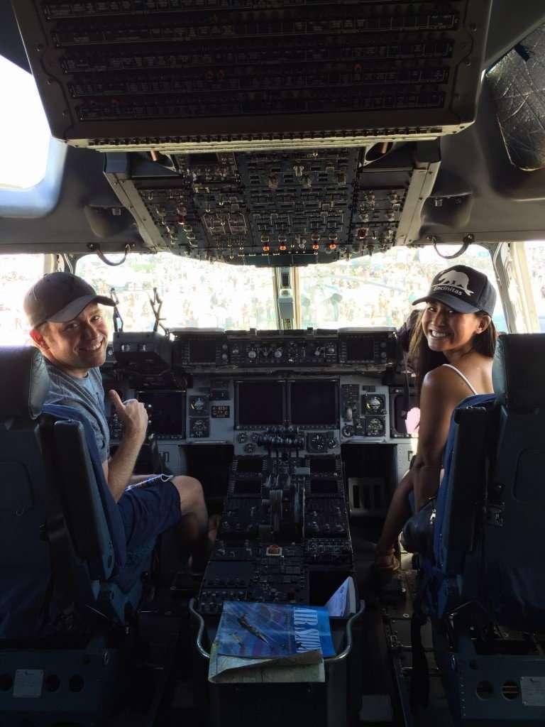 Sitting in the huge C-17 cockpit